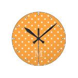 Custom Monogram. Orange and White Polka Dot. Clock