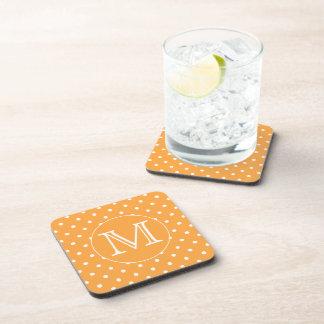 Custom Monogram. Orange and White Polka Dot. Drink Coaster