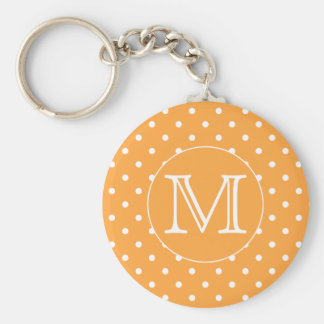 Custom Monogram. Orange and White Polka Dot. Keychain