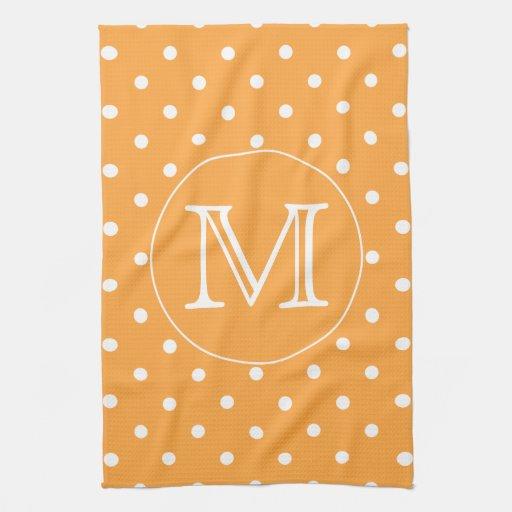 Custom Monogram Orange And White Polka Dot Towels Zazzle