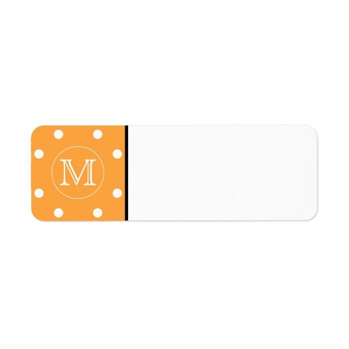 Custom Monogram. Orange and White Polka Dot. Label