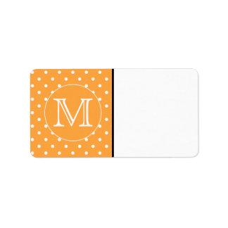 Custom Monogram. Orange and White Polka Dot. Address Label