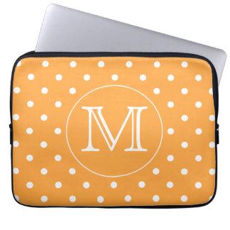 Custom Monogram. Orange and White Polka Dot. Laptop Sleeves