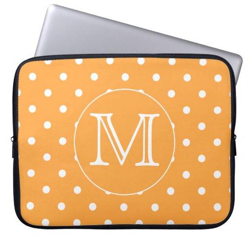 Custom Monogram. Orange and White Polka Dot. Computer Sleeves