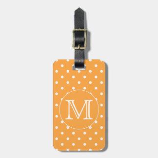 Custom Monogram Orange and White Polka Dot Tag For Luggage