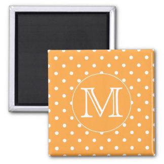 Custom Monogram. Orange and White Polka Dot. Magnet