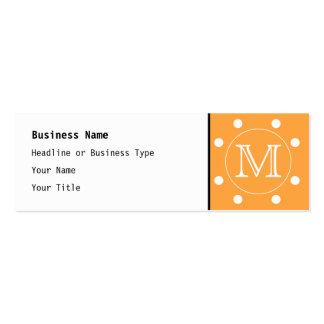Custom Monogram. Orange and White Polka Dot. Mini Business Card