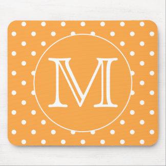 Custom Monogram. Orange and White Polka Dot. Mouse Pad