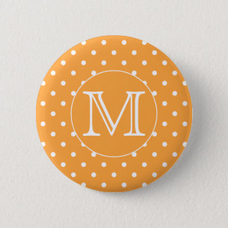 Custom Monogram. Orange and White Polka Dot. Pinback Button