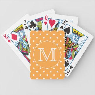 Custom Monogram. Orange and White Polka Dot. Card Deck