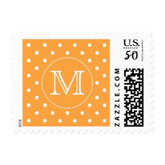 Custom Monogram. Orange and White Polka Dot. Postage
