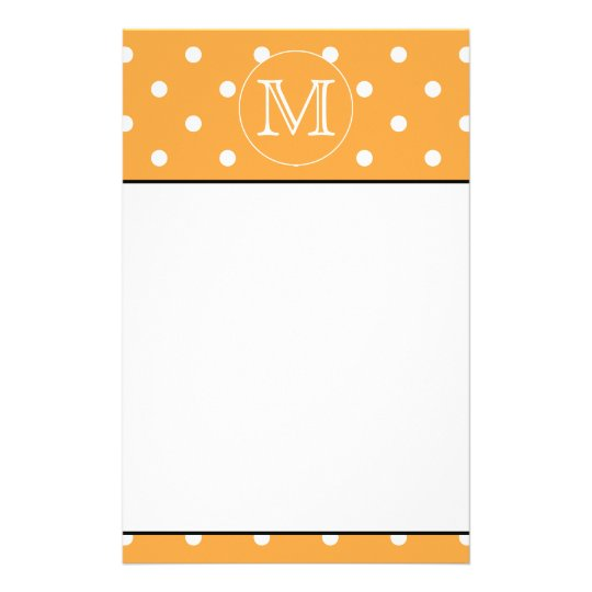 Custom Monogram. Orange and White Polka Dot. Stationery