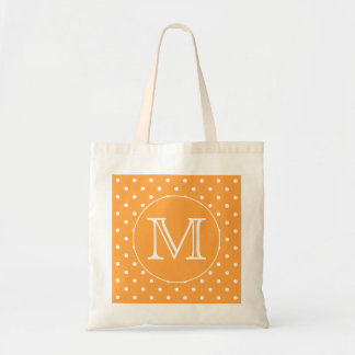 Custom Monogram. Orange and White Polka Dot. Tote Bag