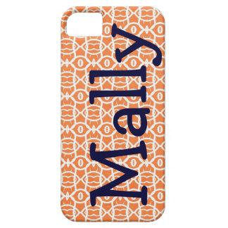 Custom Monogram Orange Mally Mac Iphone 5  case iPhone 5 Case