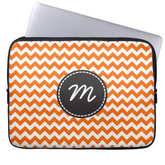 Custom Monogram. Orange White Chevron Zigzag Laptop Sleeves