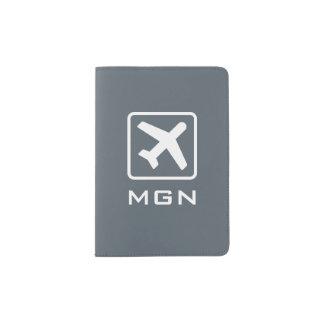 Custom monogram passport cover with airplane icon