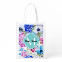 Custom monogram, personalized name grocery bag