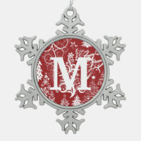 Custom Monogram Pewter Snowflake Xmas Ornaments