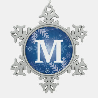 Custom Monogram Pewter Snowflake Xmas Ornaments at Zazzle