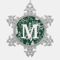 Custom Monogram Pewter Snowflake Xmas Ornaments