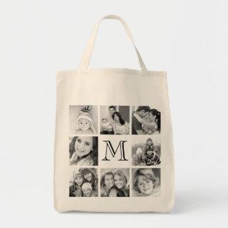 Custom Monogram Photo Collage Canvas Bags