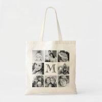 Custom Monogram Photo Collage Budget Tote Bag