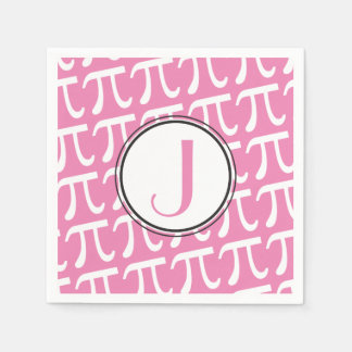 Custom Monogram Pi Symbols Pink Paper Napkins