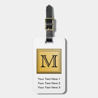 Custom Monogram Picture, nonmetallic gold colors. Tags For Luggage