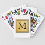 Custom Monogram Picture, nonmetallic gold colors. Card Deck