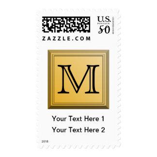 Custom Monogram Picture, nonmetallic gold colors. Postage