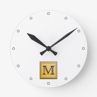 Custom Monogram Picture, nonmetallic gold colors. Round Clock