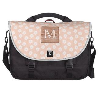 Custom Monogram. Picture of Wood, Floral Pattern. Laptop Commuter Bag