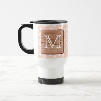 Custom Monogram. Picture of Wood, Floral Pattern. Mug