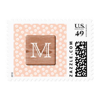 Custom Monogram. Picture of Wood, Floral Pattern. Postage Stamps