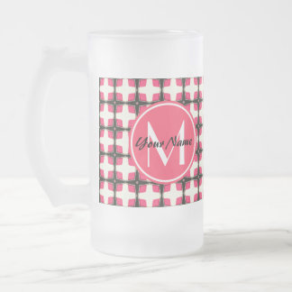 Custom Monogram Pink and Black Stylish  Pattern Frosted Glass Beer Mug