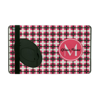 Custom Monogram Pink and Black Stylish Pattern iPad Folio Cases