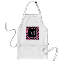 Custom Monogram Pink and Black Zebra Print Pattern Adult Apron