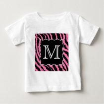 Custom Monogram Pink and Black Zebra Print Pattern Baby T-Shirt