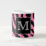 Custom Monogram Pink and Black Zebra Print Pattern Extra Large Mug