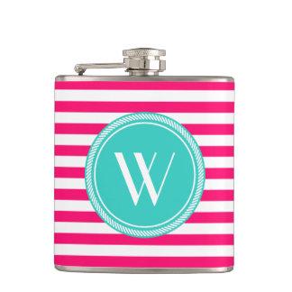 Custom Monogram Pink and Teal Striped Hip Flasks