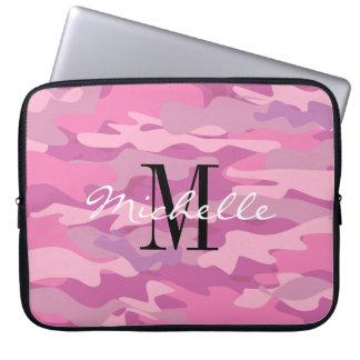 Custom monogram pink army camo laptop sleeve