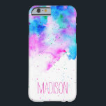 """Custom monogram pink blue watercolor brushstrokes barely there iPhone 6 case<br><div class=""""desc"""">A personalized,  custom monogram on a vibrant colorful abstract watercolor paint background with paint splatters and hand painted watercolor wash. An artistic bright design with a hand lettering style font</div>"""