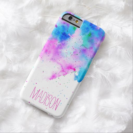 Custom monogram pink blue watercolor brushstrokes barely there iPhone 6 case