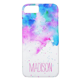 Custom monogram pink blue watercolor brushstrokes iPhone 8/7 case