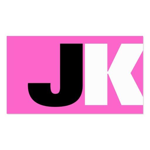 Custom Monogram Pink Business Card Templates