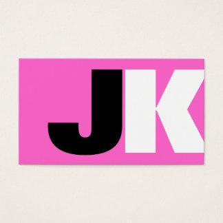 Custom Monogram Pink Business Card