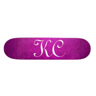 Custom Monogram Pink Glitter Skateboard Deck at Zazzle