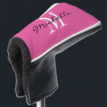 """Custom monogram pink golf putter cover for women<br><div class=""""desc"""">Personalized monogram golf driver cover for golfer. Add your own custom name or surname. Elegant script typography template with name initial letter for him or her. Classy Birthday or Mother's day gift idea for mom or grandma. Stylish pink and white design or custom color background. Unique one of a kind...</div>"""