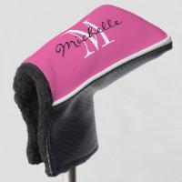 Custom monogram pink golf putter cover for women