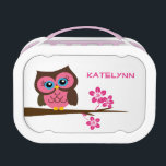 """Custom Monogram Pink Owl Lunch Box<br><div class=""""desc"""">Custom monogram pink owl lunch box.  Perfect for gifts for all occasions.  Click &quot;Customize it&quot; to change the background color,  change the text size,  text color,  font style,  add text and more!</div>"""